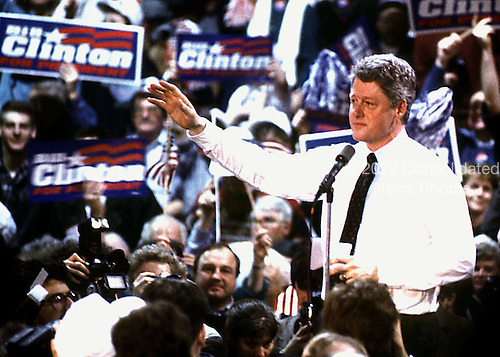 Governor Bill Clinton (Democrat of Arkansas) holds a rally at Fairgrounds Junior High School in Nashua, New Hampshire, prior to that state's Democratic Primary  on February 16, 1992.  .Credit: Ron Sachs / CNP