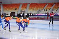 SPEEDSKATING: SOCHI: Adler Arena, 21-03-2013, Training, Sven Kramer (NED), Jan Blkhuijsen (NED), Michel Mulder (NED), © Martin de Jong