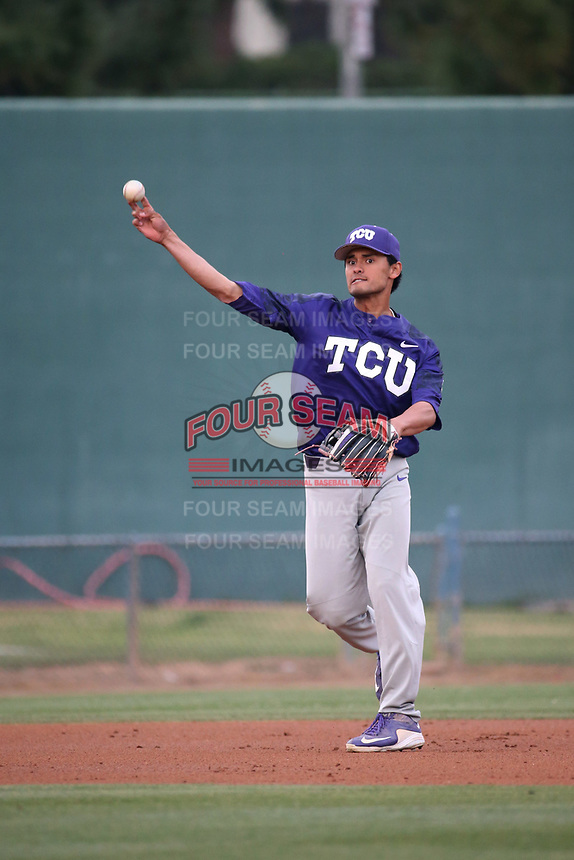 Ryan Merrill (5) of the TCU Horned Toads throws to first base during a game against the Long Beach State Dirtbags  at Blair Field on March 14, 2017 in Long Beach, California. Long Beach defeated TCU, 7-0. (Larry Goren/Four Seam Images)