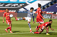 West Bromwich Albion's Matheus Pereira (centre) competing with Fulham's defence <br /> <br /> Photographer Andrew Kearns/CameraSport<br /> <br /> The EFL Sky Bet Championship - West Bromwich Albion v Fulham - Tuesday July 14th 2020 - The Hawthorns - West Bromwich <br /> <br /> World Copyright © 2020 CameraSport. All rights reserved. 43 Linden Ave. Countesthorpe. Leicester. England. LE8 5PG - Tel: +44 (0) 116 277 4147 - admin@camerasport.com - www.camerasport.com