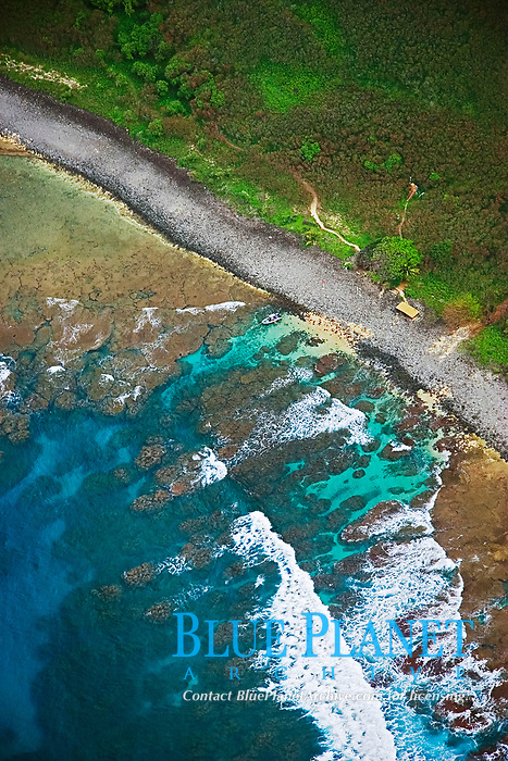Nu`alolo Kai or Nualolo Kai beach, only accessible by boat or by air, Na Pali coast, Kauai, Hawaii