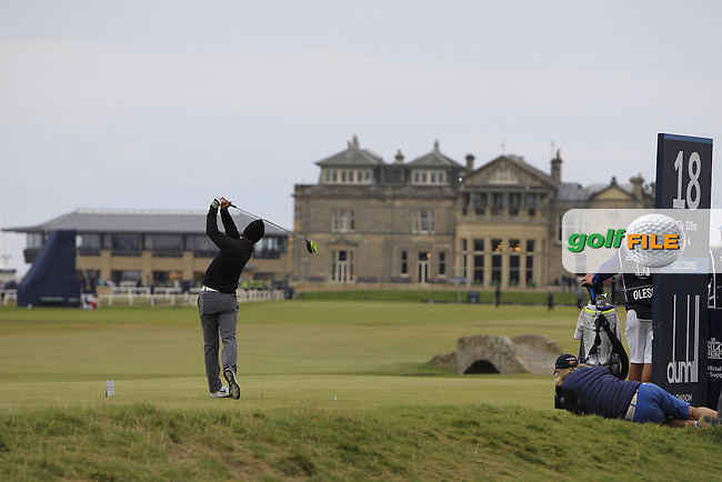 Thorbjorn Olesen (DEN) on the 18th tee during the 2015 Alfred Dunhill Links Championship at the Old Course in St. Andrews in Scotland on 4/10/15.<br />