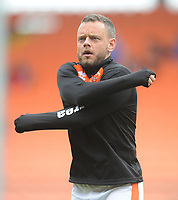 Blackpool's Jay Spearing during the pre-match warm-up <br /> <br /> Photographer Kevin Barnes/CameraSport<br /> <br /> The EFL Sky Bet League One - Blackpool v Gillingham - Saturday 4th May 2019 - Bloomfield Road - Blackpool<br /> <br /> World Copyright © 2019 CameraSport. All rights reserved. 43 Linden Ave. Countesthorpe. Leicester. England. LE8 5PG - Tel: +44 (0) 116 277 4147 - admin@camerasport.com - www.camerasport.com