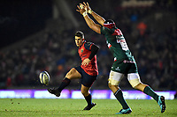 Ian Keatley of Munster Rugby puts boot to ball. European Rugby Champions Cup match, between Leicester Tigers and Munster Rugby on December 17, 2017 at Welford Road in Leicester, England. Photo by: Patrick Khachfe / JMP