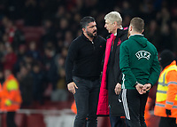 Gennaro Gattuso manager of AC Milan and Arsene Wenger manager of Arsenal during the UEFA Europa League round of 16 2nd leg match between Arsenal and AC Milan at the Emirates Stadium, London, England on 15 March 2018. Photo by Vince  Mignott / PRiME Media Images.