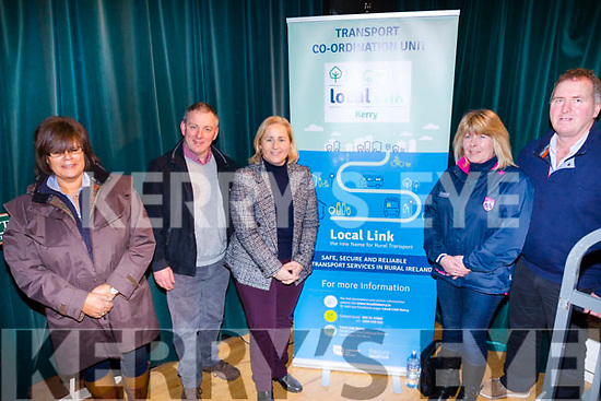 Pictured at the launch of the Kerry Local Link Bus service in Tech Amergin, Waterville on Monday were l-r; June Collins, Joe McCrohan, Cllr Norma Moriarty, Michelle O'Sullivan & John Goggin.