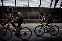 Giulio Ciccone (ITA/Trek-Segafredo) & Julien Bernard (FRA/Trek Segafredo)  in a tunnel 2 km from the finish in Val thorens<br /> <br /> shortened stage 20: Albertville to Val Thorens(59km in stead of the original 130km due to landslides/bad weather)<br /> 106th Tour de France 2019 (2.UWT)<br /> <br /> ©kramon