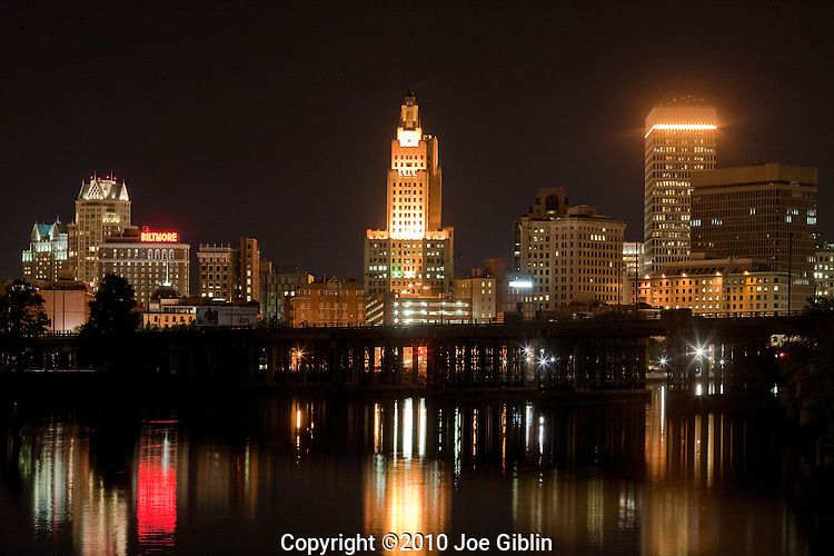 Providence Skyline at Night, looking up river from the Point Street bridge.