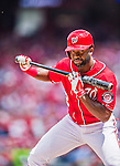 22 June 2014: Washington Nationals outfielder Denard Span holds up on a bunt attempt against the Atlanta Braves at Nationals Park in Washington, DC. The Nationals defeated the Braves 4-1 to split their 4-game series and take sole possession of first place in the NL East. Mandatory Credit: Ed Wolfstein Photo *** RAW (NEF) Image File Available ***