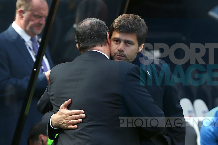 Mauricio Pochettino, Tottenham's Manager and Rafa Benitez, manager of Newcastle United during the Barclays Premier League match at St James' Park. Photo credit should read: Philip Oldham/Sportimage