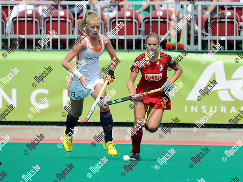 2013-07-14 / Hockey / seizoen 2013-2014 / Belgi&euml; - Nederland / Van Maasakker met Alix Gerniers (r. Belgi&euml;)<br /><br />Foto: Mpics.be