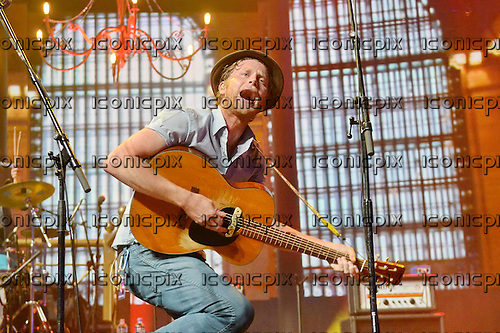 THE LUMINEERS - vocalist Wesley Schultz - performing live on Day 3 of the iTunes Festival at the Roundhouse in London UK - 03 Sep 2013.  Photo credit: George Chin/IconicPix