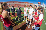 Los Angeles, CA 04/22/16 - Meg Lentz (Stanford #6), Alex Poplawski (Stanford #28), Kelsey Murray (Stanford #21), Kaitlyn Couture (USC #18), Kelsey Dreyer (USC #31), and two unidentified USC players in action during the NCAA Stanford-USC Division 1 women lacrosse game at the Los Angeles Memorial Coliseum.  USC defeated Stanford 10-9/