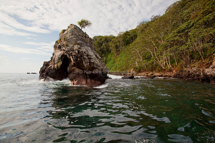 A view of the coast of Cocos Island, an island off the coast of Costa Rica, as seen from a boat.