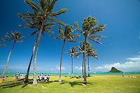 Beach park scene with Chinaman's Hat, Kualoa Regional Park, East Side of Oahu