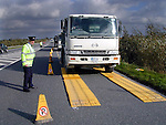 The new Garda Freeweigh Portable Vehicle Weighing System in use on the Dunleer bypass..Picture Paul Mohan Newsfile
