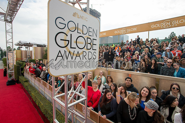 Fans in the bleachers at arrivals for the 73rd Annual Golden Globe Awards at the Beverly Hilton in Beverly Hills, CA on Sunday, January 10, 2016. Photo Credit: HFPA/AdMedia