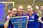 GER - Luebeck, Germany, February 07: Players of Mannheimer HC present and pose with the trophy after winning the Deutsche Meisterschaft during the prize giving ceremony at the Final 4 on February 7, 2016 at Hansehalle Luebeck in Luebeck, Germany. (Photo by Dirk Markgraf / www.265-images.com) *** Local caption *** (L-R) Kira Schanzenbecher #15 of Mannheimer HC, Nike Lorenz #16 of Mannheimer HC, Julia Meffert #97 of Mannheimer HC