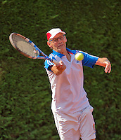 Netherlands, Amstelveen, August 22, 2015, Tennis,  National Veteran Championships, NVK, TV de Kegel,  Men's  60+, Frits Raijmakers<br /> Photo: Tennisimages/Henk Koster