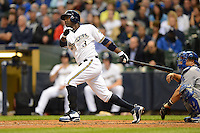Milwaukee Brewers first baseman Yuniesky Betancourt #3 during a game against the Los Angeles Dodgers at Miller Park on May 22, 2013 in Milwaukee, Wisconsin.  Los Angeles defeated Milwaukee 9-2.  (Mike Janes/Four Seam Images)