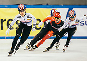 2nd February 2019, Dresden, Saxony, Germany; World Short Track Speed Skating; finals, 1000 meters for men in the EnergieVerbund Arena : Winner Dae Heon Hwang (l) from South Korea in action alongside Charle Cournoyer from Canada (M) and Kyung Hwan Hong from South Korea