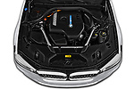 Car stock 2018 BMW 5 Series Plug-In Hybrid 530e Sport 4 Door Sedan engine high angle detail view