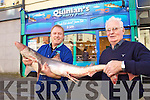 Paul Stack and Michael Quinlan with a Shark at their shop in the Mall on Friday.