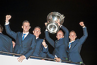 Killarney senior players on the Kerry team, Brian kelly, Jonathon Lyne, Johgnny Buckley and Fionn Fitzgerald celebrate in Killarney on Monday night.<br /> Picture by Don MacMonagle