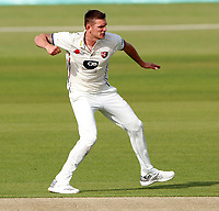 Harry Podmore of Kent is pumped after taking the wicket of Philip Salt during the Specsavers County Championship Div 2 game between Kent and Sussex at the St Lawrence Ground, Canterbury, on May 11, 2018
