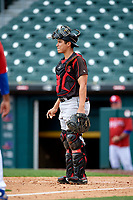 Indianapolis Indians catcher Steven Baron (44) during an International League game against the Buffalo Bisons on June 20, 2019 at Sahlen Field in Buffalo, New York.  Buffalo defeated Indianapolis 11-8  (Mike Janes/Four Seam Images)