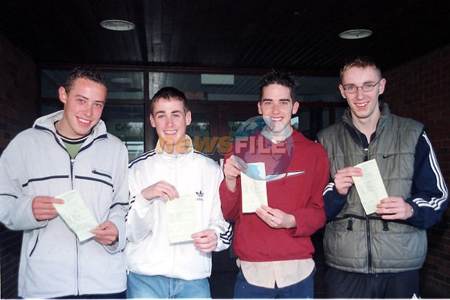Fergal McGuigan Clogherhead, Paul Hackett Hillview, Anthony Jein Glenmore Drive and Noel Monaghan Oaklawns after getting their results in St Josephs C.B.S..Pic Fran Caffrey / Newsfile
