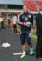 April 27, 2013: New York Red Bulls goalkeeper Luis Robles #31in action during the warm-up in a game between Toronto FC and the New York Red Bulls at BMO Field  in Toronto, Ontario Canada..The New York Red Bulls won 2-1.