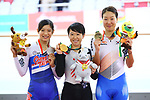(L-R) <br /> Huang Ting Ying (TPE), <br /> Yumi Kajihara (JPN), <br /> Kim Youri (KOR), <br /> AUGUST 29, 2018 - Cycling - Track : <br /> Women's Omnium Medal ceremony <br /> at Jakarta International Velodrome <br /> during the 2018 Jakarta Palembang Asian Games <br /> in Jakarta, Indonesia. <br /> (Photo by Naoki Nishimura/AFLO SPORT)