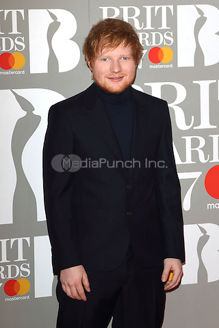 Ed Sheeran at The BRIT Awards 2017 at The O2, Peninsula Square, London on February 22nd 2017<br /> CAP/ROS<br /> &copy; Steve Ross/Capital Pictures /MediaPunch ***NORTH AND SOUTH AMERICAS ONLY***