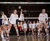 STANFORD, CA - December 1, 2018: Meghan McClure, Holly Campbell, Kathryn Plummer, Jenna Gray at Maples Pavilion. The Stanford Cardinal defeated Loyola Marymount 25-20, 25-15, 25-17 in the second round of the NCAA tournament.