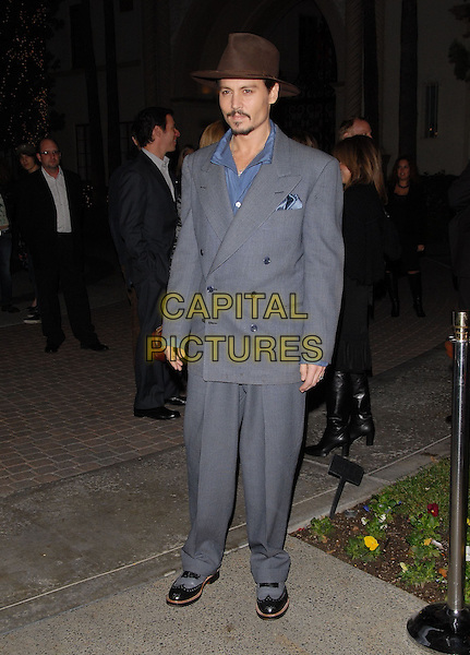 "JOHNNY DEPP.A Private Screening of "" Sweeney Todd: The Demon Barber of Fleet Street (Sweeney Todd)"" held at The Paramount Studiost in Hollywood, California, USA..December 5th, 2007 .full length grey gray suit blue shirt brown hat goatee facial hair                                                                                 .CAP/DVS.©Debbie VanStory/Capital Pictures"