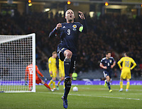 19th November 2019; Hampden Park, Glasgow, Scotland; European Championships 2020 Qualifier, Scotland versus Kazakhstan; Steven Naismith of Scotland celebrates after he puts Scotland into the lead, making it 2-1 in the 64th minute - Editorial Use
