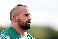 Toby Williams of Newcastle Falcons looks on during a break in play. Pre-season friendly match, between Doncaster Knights and Newcastle Falcons on August 25, 2018 at Castle Park in Doncaster, England. Photo by: Patrick Khachfe / Onside Images