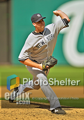 16 June 2012: New York Yankees pitcher Boone Logan on the mound against the Washington Nationals at Nationals Park in Washington, DC. The Yankees defeated the Nationals in 14 innings by a score of 5-3, taking the second game of their 3-game series. Mandatory Credit: Ed Wolfstein Photo