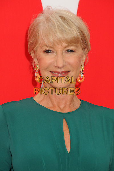 Dame Helen Mirren<br /> Attending the &quot;Red 2&quot; Los Angeles Film Premiere held at the Regency Westwood Village Theatre, Westwood, California, USA, 11 July 2013.<br /> portrait headshot earrings smiling gold fringe  green cut out <br /> CAP/ADM/BP<br /> &copy;Byron Purvis/AdMedia/Capital Pictures