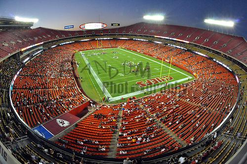 Aug 25, 2010; Kansas City, MO, USA; A general view of Arrowhead stadium as the Kansas City Chiefs practice during training camp at Arrowhead Stadium. Mandatory Credit: Denny Medley-US PRESSWIRE