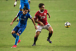 Joao Emir Pereira of Pegasus (R) in action during the week three Premier League match between Hong Kong Pegasus and Kitchee at Hong Kong Stadium on September 17, 2017 in Hong Kong, China. Photo by Marcio Rodrigo Machado / Power Sport Images