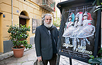 Mimmo Cuticchio in front of his theatre