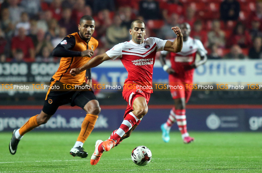 Tai Ben Haim of Charlton takes on the Wolves defence - Charlton Athletic vs Wolverhampton Wanderers - Sky Bet Championship Football at the Valley, Charlton, London- 16/09/14 - MANDATORY CREDIT: Paul Dennis/TGSPHOTO - Self billing applies where appropriate - contact@tgsphoto.co.uk - NO UNPAID USE
