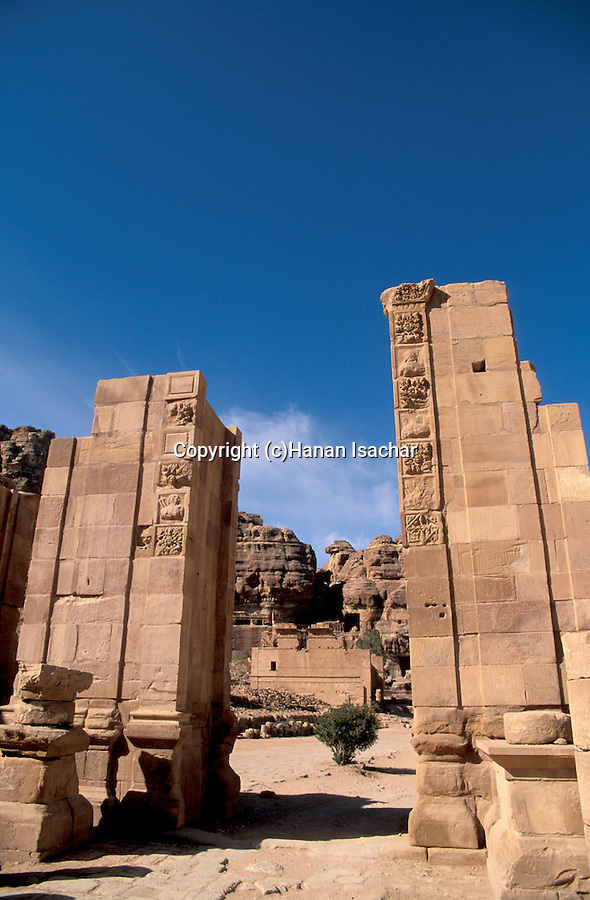 Jordan, Petra. The Colonnaded Street and Qasr Al Bint&#xA;<br />