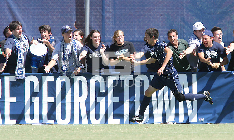 Andy Riemer #20 of Georgetown University greets the fans after scoring during an NCAA match against Michigan State at North Kehoe Field, Georgetown University on September 5 2010 in Washington D.C. Georgetown won 4-0.