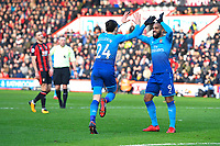 Héctor Bellerín of Arsenal scores and celebrates with Alexandre Lacazette of Arsenal during AFC Bournemouth vs Arsenal, Premier League Football at the Vitality Stadium on 14th January 2018