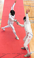 13 AUG 2009 - LONDON, GBR - Sam Weale (GBR) crosses blades with Kakha Gotsiridze (GEO) during their fencing bout at the Mens World Modern Pentathlon Championship Qualifiers (PHOTO (C) NIGEL FARROW)