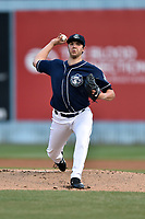 Asheville Tourists starting pitcher Riley Pint (32) delivers a pitch during a game against the Kannapolis Intimidators at McCormick Field on April 18, 2017 in Asheville, North Carolina. The Intimidators defeated the Tourists 2-1. (Tony Farlow/Four Seam Images)