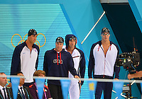August 04, 2012..L to R: Matt Grevers, Brendan Hansen, Michael Phelps and Nathan Adrian arrive on deck to compete in Men's 4x100 Medley Relay at the Aquatics Center on day eight of 2012 Olympic Games in London, United Kingdom.